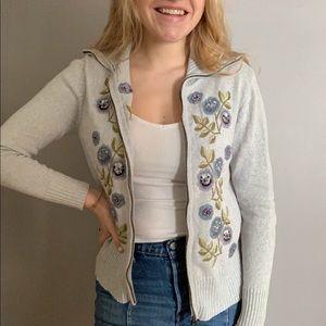 Tiara Embroidered Cardigan Sweater